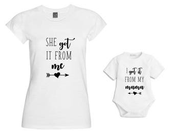 I got it from my muma Matching Mum & Baby Tshirt/Baby Vest/Outfit/Christmas Gift/Mother Daughter Matching/Mommy and me matching/Baby Gift