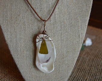 Genuine Brown and Clear Sea Glass with Shell