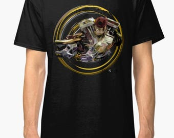 Harley Davidson S&S Evolution Chop inspired Motorcycle engine T Shirt INISHED
