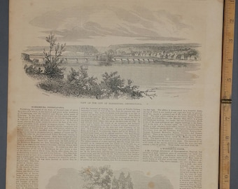 View of the City of Harrisburg, Pennsylvania 1854. Tree to Which John Harris was Tied. Large Antique Engraving, About 11x15