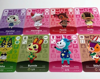 Animal Crossing Amiibo Card Favorites Fanmade Marshal Ankha Julian Merengue Stitches Fauna Molly Bunnie Chrissy Drago Marina