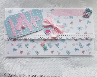 Envelope gift Love pink and blue