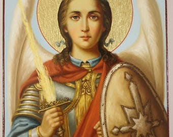 Icon of Archangel Michael (24x18 cm), Russian Orthodox Icon, Handpainted icon, Religious painting