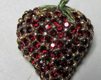 1950's Red Rhinestone Enamel Strawberry Pin