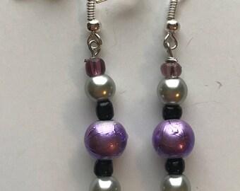 Purple, black, and silver beaded drop earrings, Purple Black Silver Beaded Earrings, Silver Purple Earrings, Purple Silver Earrings,