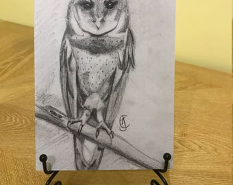 A5 greeting card. Image of owl