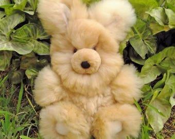 Extremely Fluffy Rabbit Handmade Stuffed Animals Fluffy Alpaca Fur Bunny BEIGE Soft Toys Christmas Gift Ideas Peruvian Handicraft