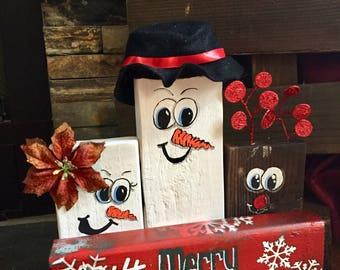 Wooden Snowman Trio
