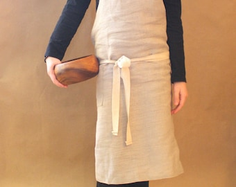 Children's Natural Linen Bib Apron Smock