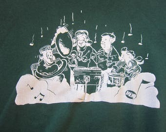 Holiday Carolers Band Vintage Crew Neck Sweatshirt, Forest Green, Size XL / Lee Heavyweight, Made in USA, Winter, Christmas, Holidays