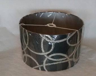 silver swirls on dark grey large lampshade
