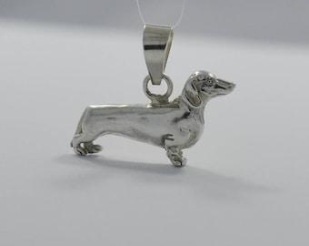 Vintage Sterling Silver Dachshund Wiener Dog Pendant or Charm 4.03 Grams