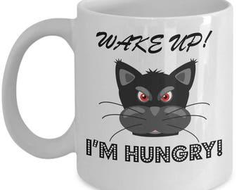 Wake Up Cat Mug, Black Cat Mug, Funny Cat Mug, Cat Mug for Cat Lover, Gift Idea, Gift for Cat Lover, Coffee Mug, Tea Mug, Mugs