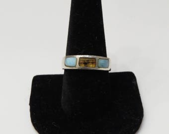 Vintage Sterling Silver Turquoise + Tigers Eye Band Ring sz 9.5