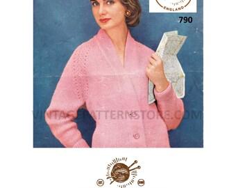 "Ladies 1950s, lace shoulder seam, chunky edge, V neck, dolman sleeve cardigan 34"" - 36"" chest - Vintage PDF Knitting Pattern 790"