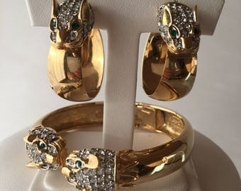 Butler dragon head bracelet and earrings