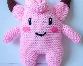 Knitted clefairy plushie