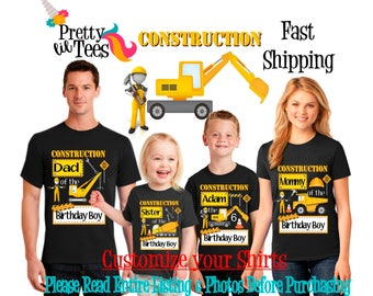 CONSTRUCTION Birthday BOY Theme Family BLACK Shirts For the Entire Family Mom Dad Brother and More T-shirts Long/ Short sleeve Raglan