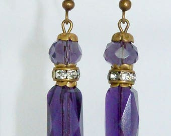Vintage Art Deco 1930s Purple facetted glass bead and rhinestone earrings - made from broken necklace