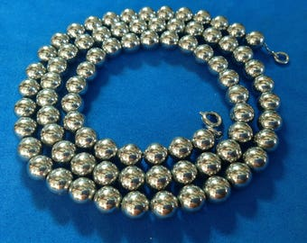 """Vintage! Silver tone beads on a chain necklace 25"""" x just over 1/4""""."""