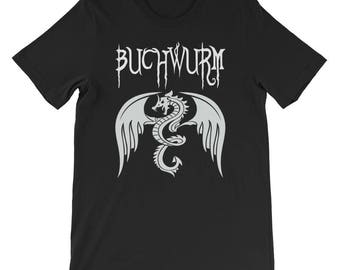 Buchwurm Shirt Bookworm Dragon Wyrm Design