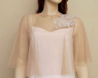 Champagne Wedding Cape Tulle Bridal Capelet Bridal Capes  Shrug with Appliques