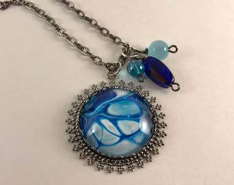 Blue/White Contemporary Gunmetal Necklace with Beads