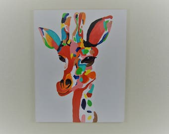 "16x20"" Colorful Giraffe acrylic painting"