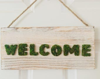 Welcome sign, rustic, pallet decor, urban farmhouse, repurposed, moss sign, country, nature, housewarming gift, shabby chic, outdoors,nature