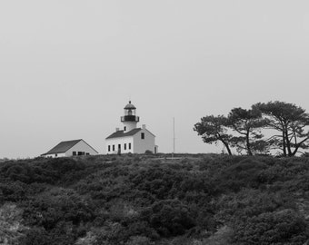 Canvas Print, Lighthouse, Point Loma, Tree, Black and White, Wall Art, Landscape Photography, California, San Diego