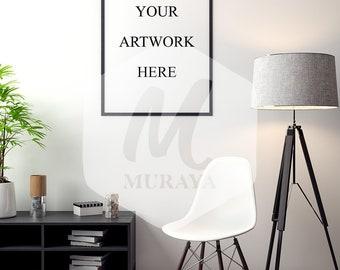 Living room frame mockup, Thin black frame, Styled Stock Photograpy, Classy Interior, PSD Mockup, Digital Item, Natural Lighting
