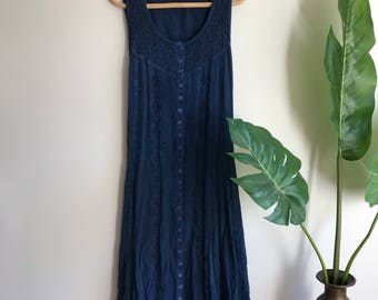 Vintage Indigo Blue Boho Dress Cotton Plus Size 1X