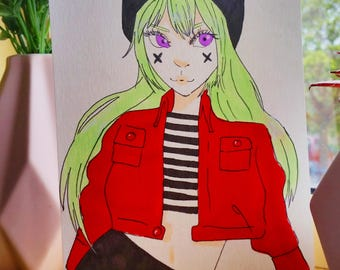 Copic Art of Green-Haired Doll -A5
