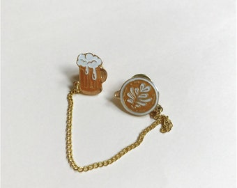 Beer and Coffee enamel pin, Beer pin, Coffee Pin, Collar pin, Enamel Pin