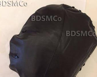 Real Leather Bondage Fetish Gimp Mask Slave Hood With Zip JEL3