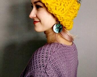 Mustard Yellow Chunky Knit 100% Wool Beanie