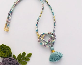 Spring Garden Fabric Cord/Tassel Necklace in Blue
