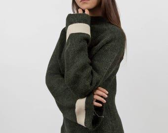 Alpaca Sweater, Cashmere Sweater, Women Sweater, Green Sweater, Brown Sweater, Cozy Sweater, Wool Sweater,