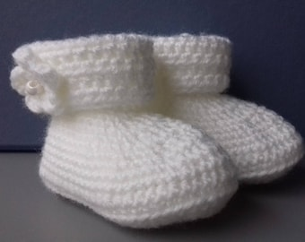 Crochet Baby Slippers, color white