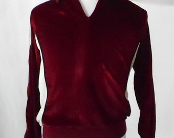 Vintage 1970s 1980s Justin Blake Velour V Neck Pullover, 1970s Velour Track Pullover, 1980s Velour Track Pullover, Vintage Justin Blake