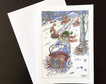 "Sleigh Ride-Christmas card ""snowmen, hares and carrot noses"""