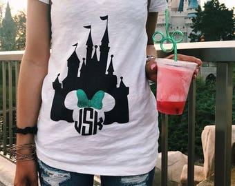 Monogrammed Disney castle V-neck (FREE SHIPPING)