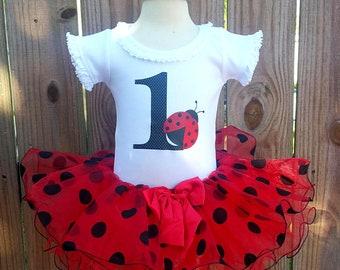 Sweet Little Ladybug Birthday First or Second Birthday Tutu 3 Piece Set Personalized FREE