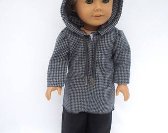 Grey-Navy Checked Hoodie with Black Pants
