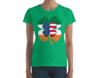 Irish and American Flag Shamrock Women's T-Shirt/ St. Patrick's Day T-Shirt/ St. Paddy's Day/ St. Patrick's Day Gifts