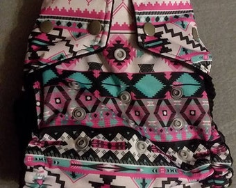 OS Pink & Teal Aztec Pocket