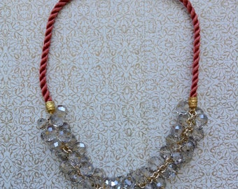 Lace and crystal necklace