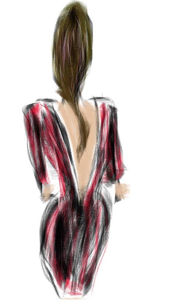 Red Dress  - woman  - Minimalist Fine Art Print.