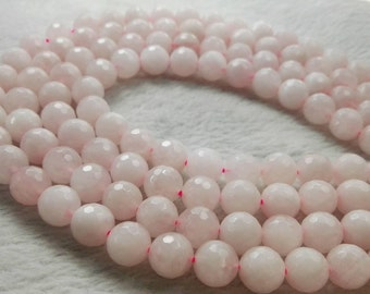 6mm 8mm 10mm Rose Quartz Faceted Round Beads  , Rose Quartz Beads , Pink Quartz Round Beads , Stone Beads , Jewelry Making Beads , Wholesale