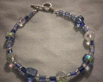 Blue Crystal beaded anklet